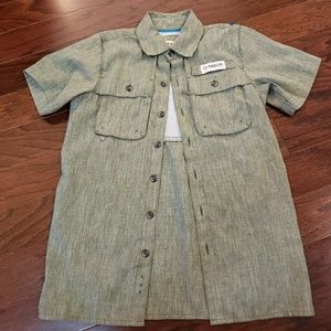 Green magellan outdoors button updown shirt xs 6-7